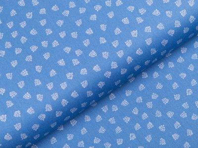 Webware Baumwolle - kleine Anker - jeansblau
