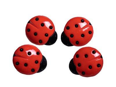 Kinderknopf mit Öse 4 Stück/15 mm - Marienkäfer - rot/schwarz