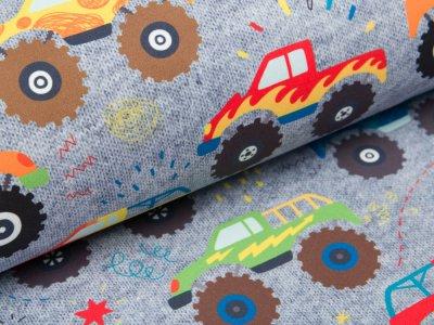 Softshell Jackenstoff Swafing Fiete - Monstertrucks - grau/bunt