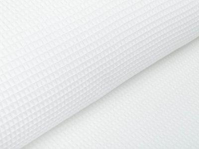 Waffelpiqué Baumwolle - Waffeloptik - uni weiß