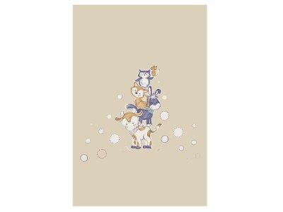 Webware Baumwolle Bettwäsche-PANEL ca. 155 cm x 100 cm - gestapelte Tiere - braun