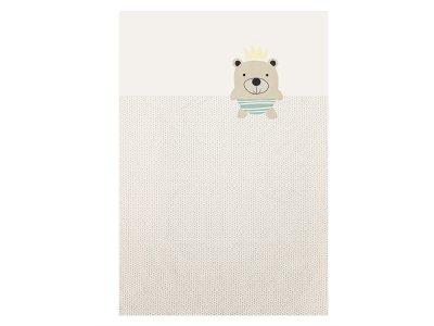 Webware Baumwolle Bettwäsche-PANEL ca. 155 cm x 100 cm - Teddybär auf geometrischem Muster - creme