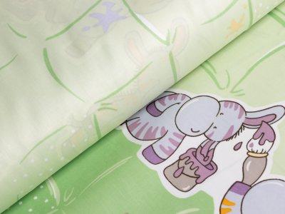 Webware Baumwolle Bettwäsche - Esel mit Farbklecksen - grün