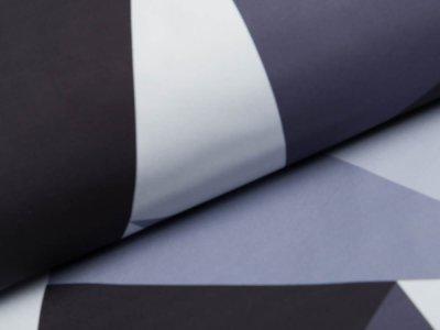 Softshell Jackenstoff Swafing Fiete - geometrische Muster - grau/schwarz