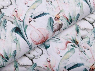 Webware Popeline Baumwolle Aquarell Digitalprint Stenzo - Elefanten und Tukane - weiß