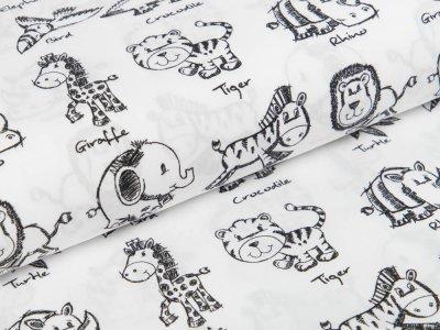 Webware Baumwolle Popeline Stenzo - Giraffen, Elefanten,  Zebras, Löwen - weiß
