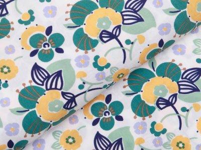 Webware Viskose - Blütenmeer - weiß/grün