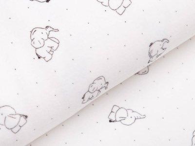 Nicki - Babyelefanten und Punkte - wollweiß