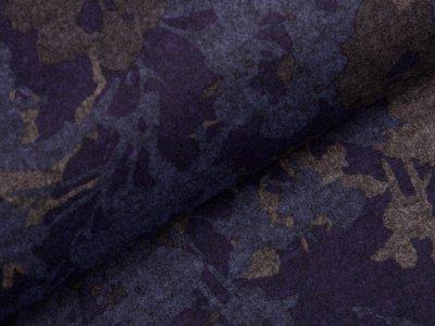 Romanit Jersey Ponti Digitaldruck - Blumen - dunkles lila