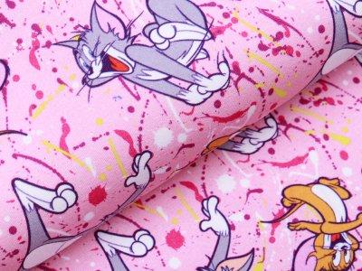 Leicht angerauter Sweat Digitaldruck Tom und Jerry - Blödsinn - rosa