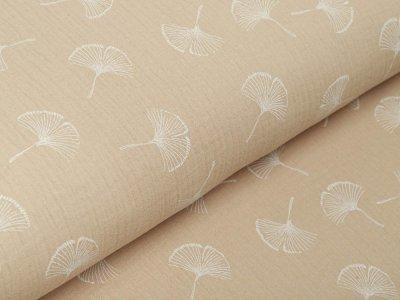 Musselin Baby Baumwolle Double Gauze - Ginkgo Blätter - beige