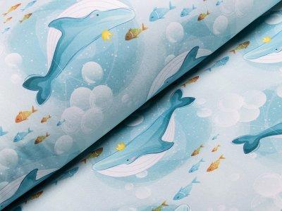 Jackenstoff Softshell - Walfische - mint