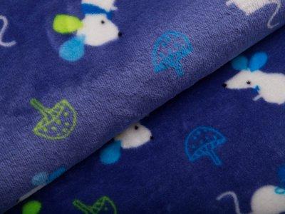 Fleece Flanell Doubleface - Mäuse und Pilze - jeansblau