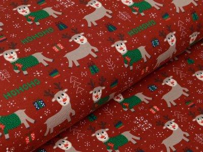 Jersey - HOHOHO Rentiere und Weihnachtsgeschenke - terrakotta