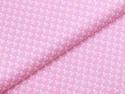 Webware Baumwolle - kleine Totenköpfe - rosa