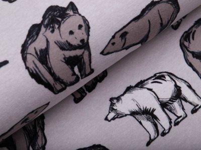 Alpenfleece - wilde Bären - meliert grau
