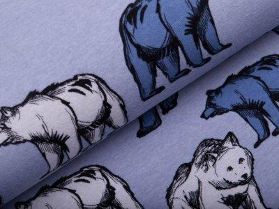 Alpenfleece - wilde Bären - meliert blau