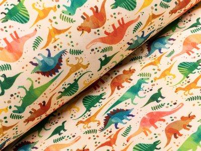 Jackenstoff Softshell - Dinosaurier Dschungel - gelb