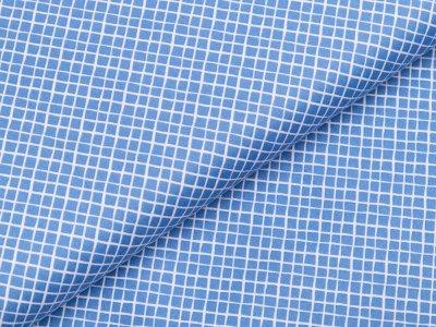 Webware Baumwolle - kleine Rauten - jeansblau