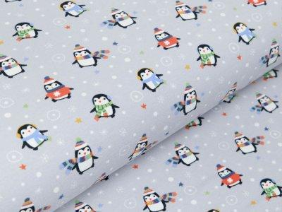 Jersey - Winterliche Pinguine und Schneeflocken - grau