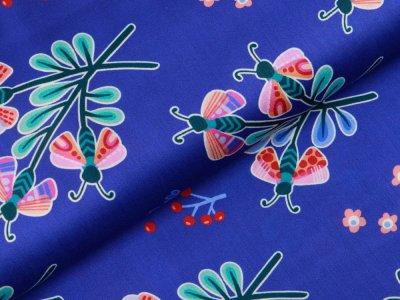 Webware Baumwollsatin by Hamburger Liebe - Schmetterlingsblumen - königsblau
