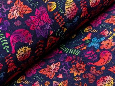 Jackenstoff Softshell - florale Ornamente - marine