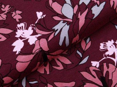 Jersey Viskose - Blumen - aubergine