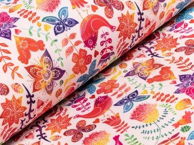 Jackenstoff Softshell - florale Ornamente - weiß