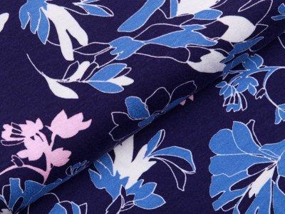 Jersey Viskose - Blumen - dunkles blau