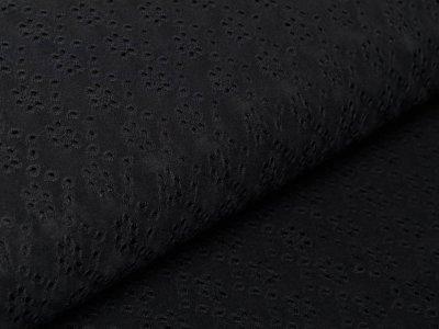 Jersey Strickstoff mit Lochstickerei Embroidery - Blumen - schwarz