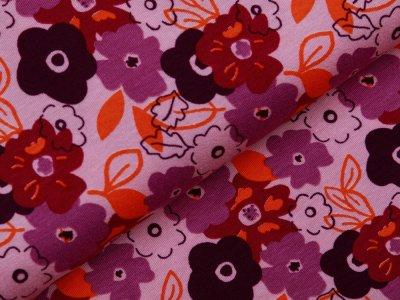 Jersey Viskose - Blumen - rosa