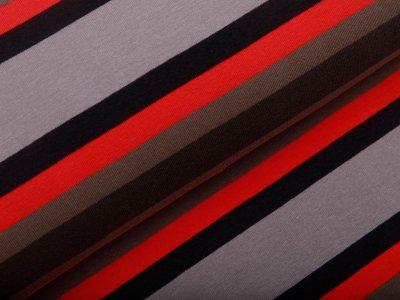 Angerauter Sweat - Streifen - grau/rot