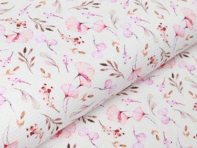 Waffelpiqué Baumwolle - Aquarelle Ginkgo Blätter - weiß/rosa