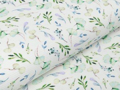 Waffelpiqué Baumwolle - Aquarelle Ginkgo Blätter - weiß/lila