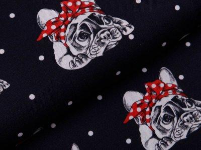 Canvas Fräulein von Julie - Französische Bulldoggen mit Punkten - schwarz