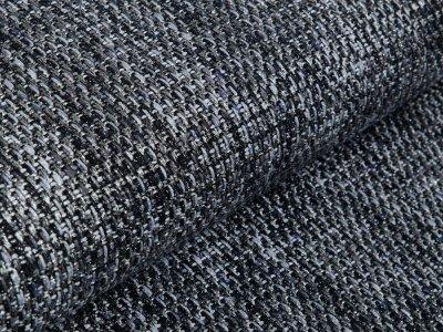 Tweed Wollstoff mit Glitzerfäden - Flechtoptik - anthrazit/grau