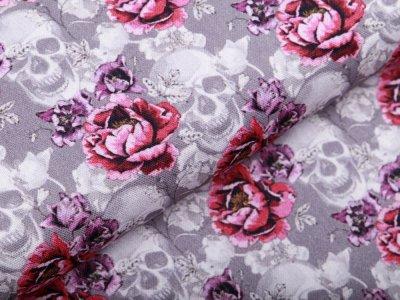 Canvas Fräulein von Julie - Skulls auf Rosen - grau