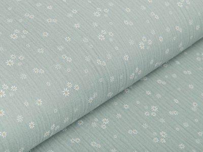 Musselin Baumwolle Hydrofiel Double Gauze - kleine Blumen - altmint