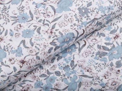 Webware Popeline Baumwolle - Blumen - weiß/blau