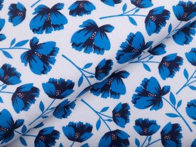 Webware Popeline Baumwolle - Strohblumen - weiß