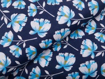 Webware Popeline Baumwolle - Strohblumen - blau