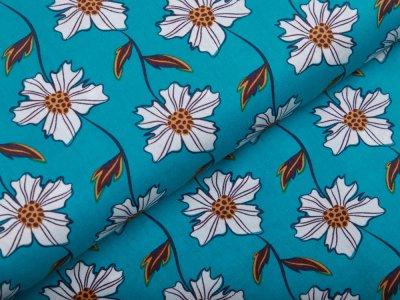 Webware Popeline Baumwolle - Blumenranken - dunkles aqua