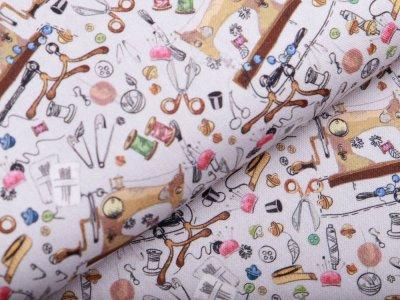 Canvas Fräulein von Julie - Nähmaschinen und Nähutensilien - grau