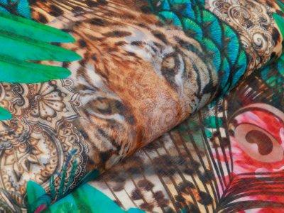 Webware Voile Kaftan für Damen Digitaldruck Stenzo PANEL ca. 200 x 150 cm - Pfauenfedern und Tiger - grün