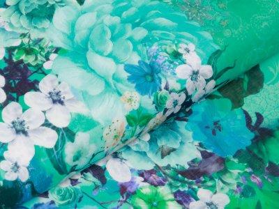 Webware Voile Kaftan für Damen Digitaldruck Stenzo PANEL ca. 200 x 150 cm - wunderschöne Blumen - grün