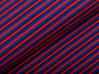 Single Jersey - Streifen - blau/rot