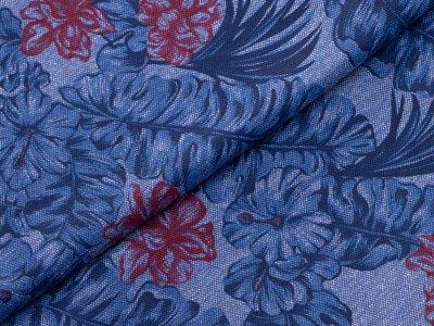Piqué Jersey - florales Muster - blau