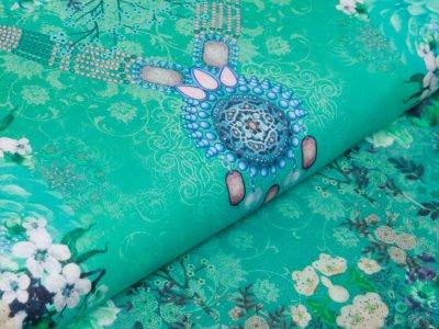 Webware Voile Kaftan für Kinder Digitaldruck Stenzo PANEL ca. 150 x 150 cm - wunderschöne Blumen - grün