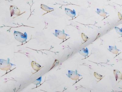 Webware Popeline Baumwolle Digitaldruck - putzige Vögel auf Zweigen - weiß