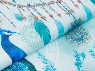 Webware Voile Kaftan für Damen Digitaldruck Stenzo PANEL ca. 200 x 150 cm - Pfauen und Blumen - türkis